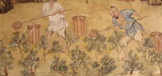 Detail from the Chinese wallpaper on silk in the Chinese Bedroom at Saltram, showing two men watering tea shrubs. ©National Trust Images/Andreas von Einsiedel