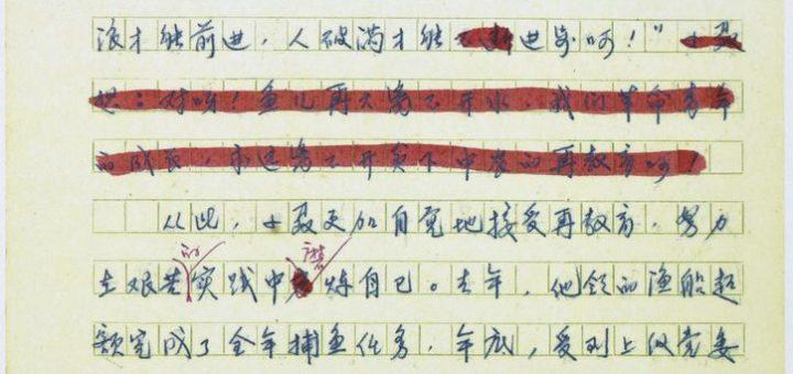 """'Three Hurdles on the Deer Farm"" : Draft of a report ""鹿场闯'三关'"" : 一篇报道手稿"